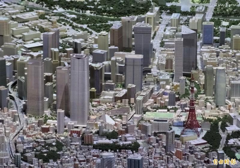 日本土地開發商森大廈22日公布最新都更案「虎之門、麻布台開發計畫」,位於東京鐵塔附近。(記者林翠儀攝)