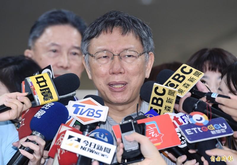 台北市長柯文哲今天出面受訪。(記者廖振輝攝)