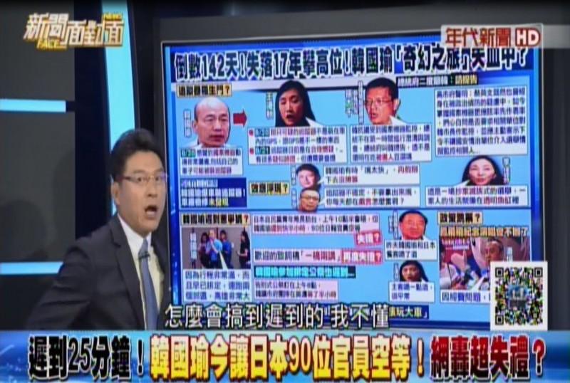 謝震武在節目不僅指責韓國瑜,更嗆爆韓的整個團隊「你們大家車都閉眼瞎開嗎」?「怎麼會搞到遲到的,我不懂」!(擷取自「新聞面對面」)
