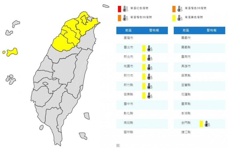 氣象局針對7縣市發布「黃色燈號」警示,明(23)高溫有機會達36度以上。(擷取自中央氣象局)