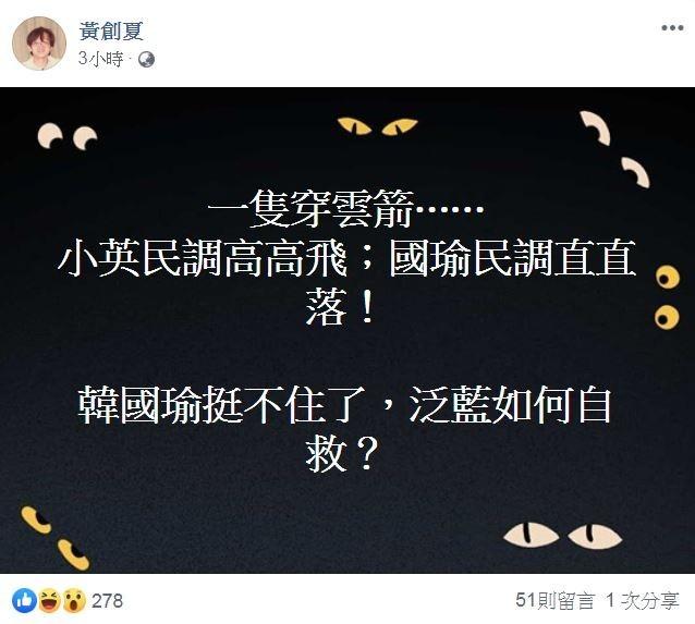 韓國瑜民調不停下降,名嘴黃創夏大嘆挺不住了。(圖片擷取自臉書)