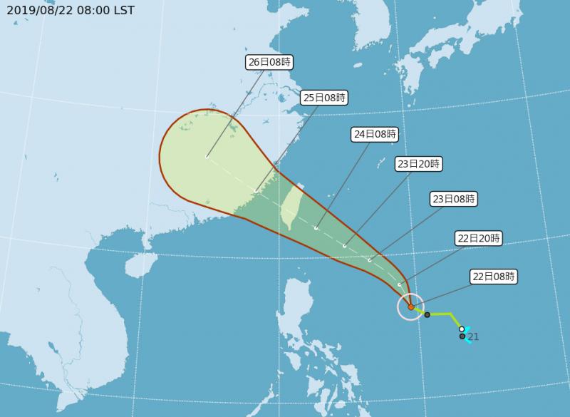 氣象局預估白鹿颱風有高機率直撲台灣,成2年多以來首個登陸台灣的颱風,明將陸續發布海上、陸上颱風警報。(中央氣象局)