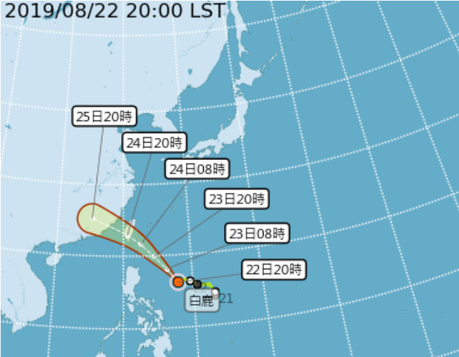 中央氣象局今晚8點最新預報指出,受到太平洋高壓增強以及颱風整合影響,預估未來白鹿颱風中心以通過台灣南端到巴士海峽機率最高。(中央氣象局提供)