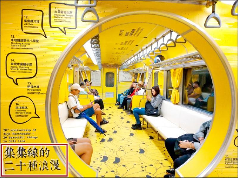 台鐵集集支線彩繪列車爭議不斷,觀光局砸300萬卻爆字體(紅框處)侵權爭議。(資料照)