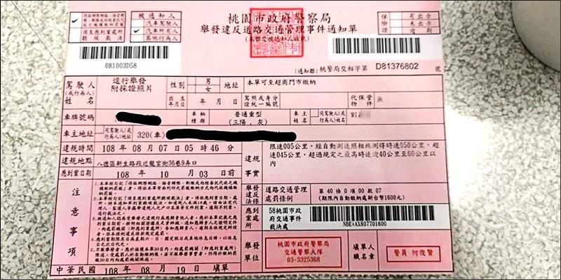 民眾接獲罰單超傻眼,紅單上「違規事實」清楚寫著:「限速005公里」。(記者許倬勛翻攝)