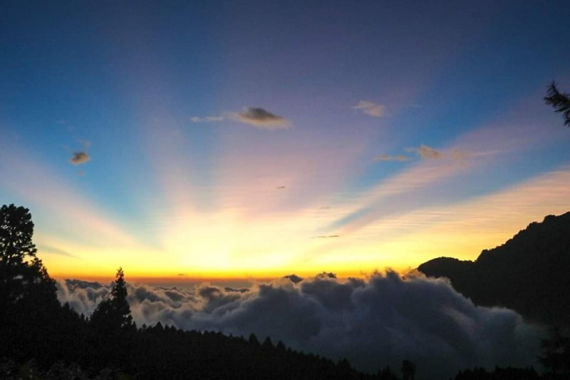 白鹿颱風來臨前夕,阿里山出現夕陽雲海美景。(民眾提供)