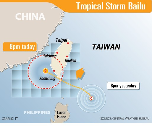 《TAIPEI TIMES》 Storm landfall likely at 2pm on peninsula