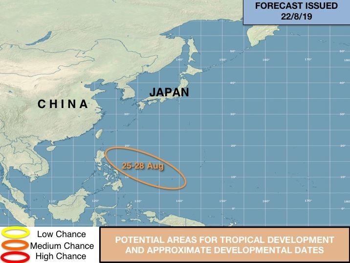 美國氣象專家製圖指出,在本月25日至28日,在菲律賓海上可能出現新的熱帶發展。(圖擷取自Jason Nicholls推特)