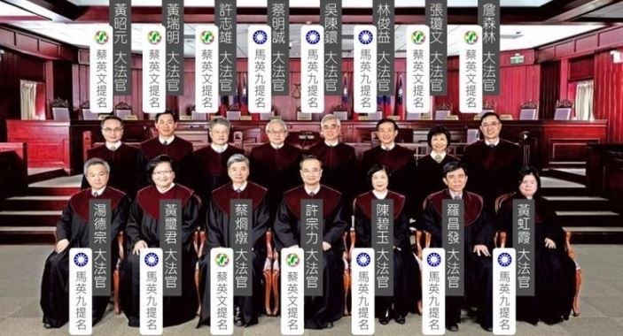 王定宇臉書圖表顯示,目前有8名大法官是前總統馬英九在任時提名。(圖擷取自王定宇臉書)