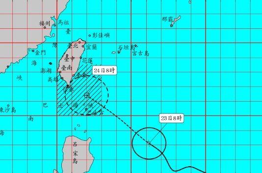 氣象局指出,預計將在下午2點半對輕颱白鹿發布陸上颱風警報。(擷取自中央氣象局)