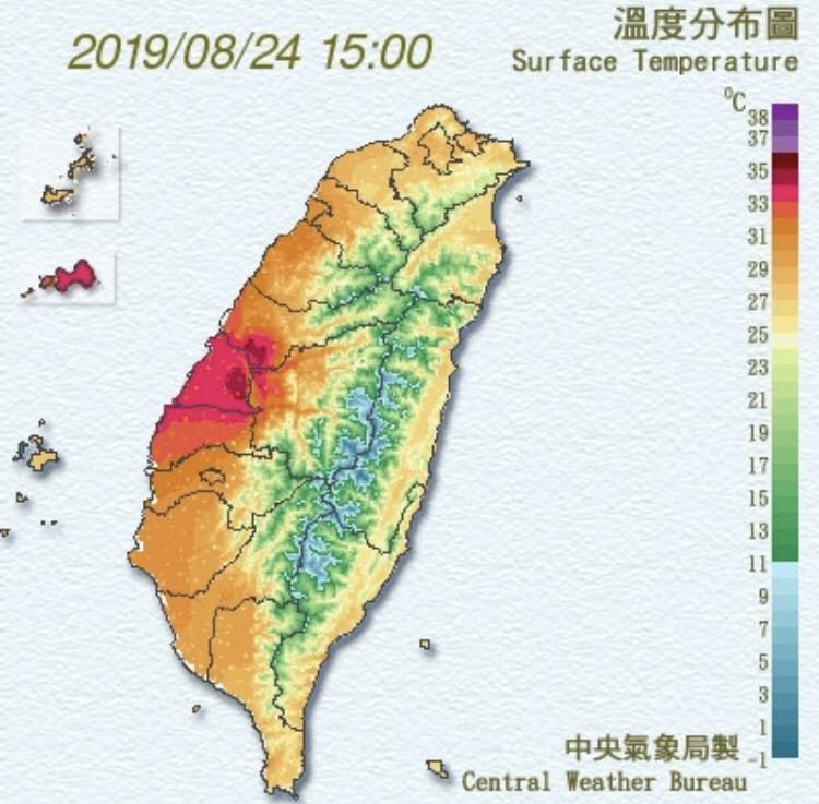 白鹿颱風造成彰化縣飆高溫,但未達焚風標準。(記者顏宏駿翻攝)