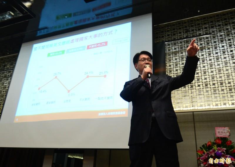 台灣民意基金會今天公布最新民調。(記者王藝菘攝)