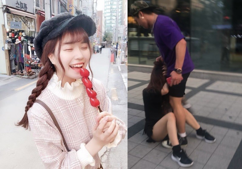 MiyuRin日前在南韓旅遊時,拒絕一名南韓男子的搭訕,結果遭到該名男子打倒在地,還拉著她的頭髮出腳狠踹。(左圖擷取自MiyuRin IG,右圖擷取自MiyuRin推特)
