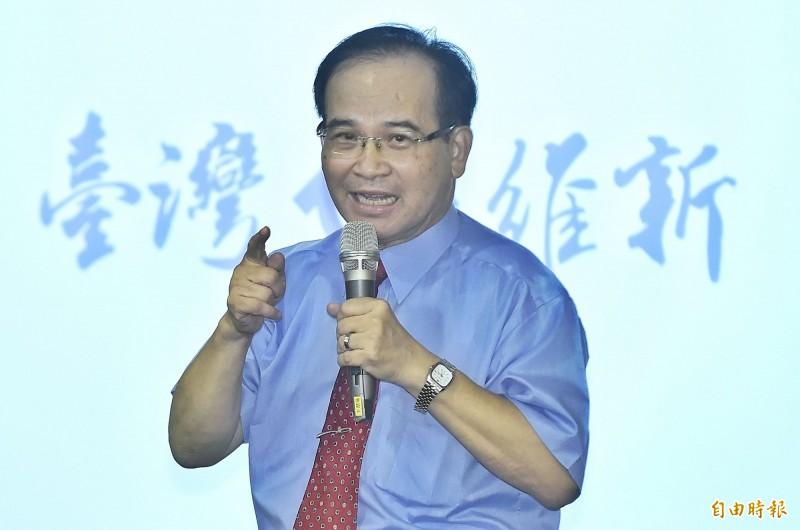 前台南縣長蘇煥智籌組的新政黨「台灣維新」,今天正式舉辦政黨成立大會,他說,未來台灣維新黨最主要的目標就是要終結藍綠惡鬥、團結民心並振興台灣。(記者陳志曲攝)