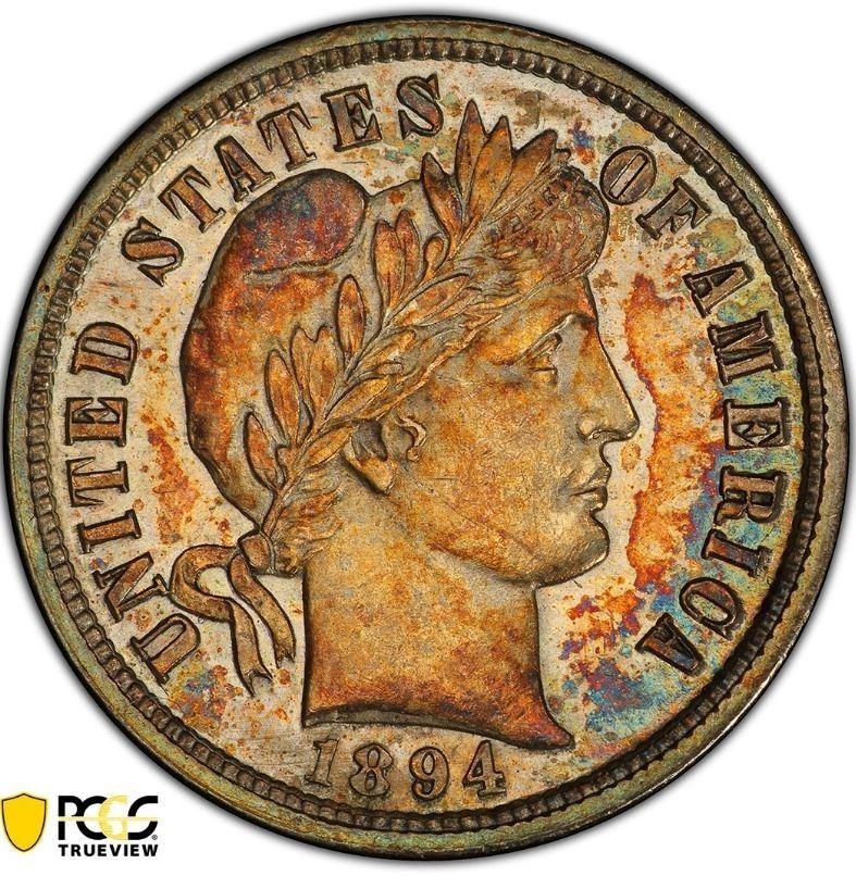 美國一枚面額10美分(約新台幣3元)的硬幣,在拍賣會上竟以132萬美元(約新台幣4147萬元)售出。(圖擷自PCGS推特)