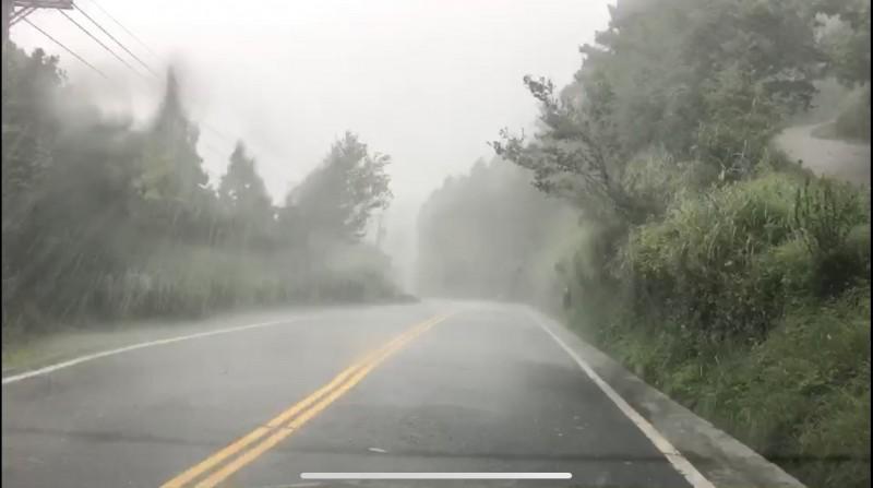 太平山國家森林遊樂區,凌晨起風強雨驟。(記者林敬倫翻攝)