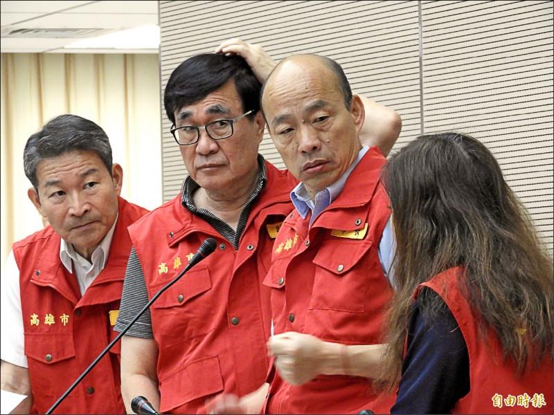 高雄市長韓國瑜昨天主持颱風災害應變中心會議。(記者葛祐豪攝)