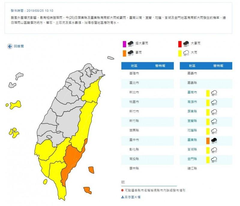 中央氣象局今日上午10時10分,針對南部、東部與澎湖、金門8個縣市發布豪、大雨特報。(圖翻攝自中央氣象局官網)