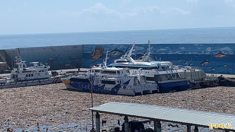 昨天開進富崗漁港,準備今天上午要載遊客進綠島的交通船,全被漂流木卡住,動彈不得。(記者王秀亭攝)