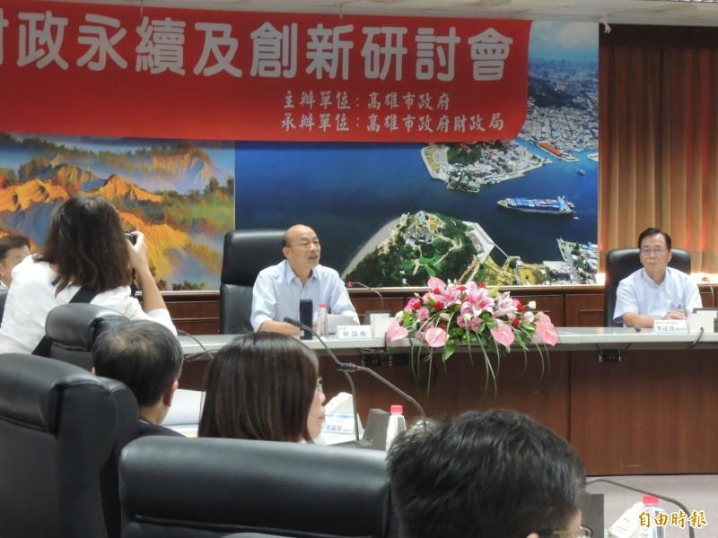 韓國瑜引述台北計程車司機說法,現在誰看台北、都在看高雄。(記者王榮祥攝)