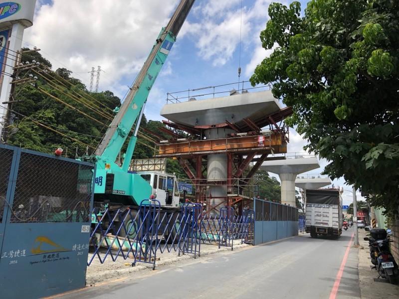 捷運三鶯線目前施工概況。(新北市捷運工程局提供)