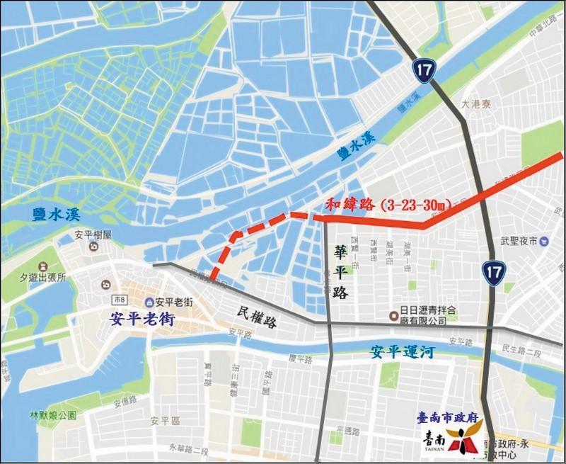 紅色虛線部分,為連通至安平地區的最後一哩路。(記者蔡文居翻攝)
