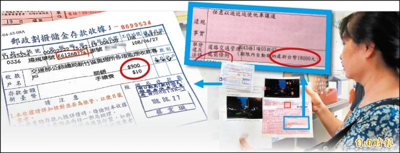 張姓婦人拿著6月被開罰的照片,繳完900元後,8月再接到同次違規紅單(右),且是前次的20倍。(記者黃美珠攝)