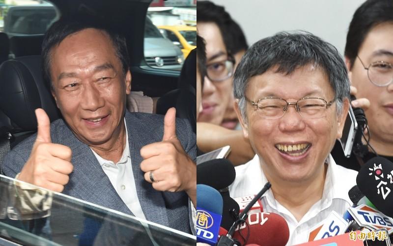 「台灣民眾黨」未來將提名立委參選人,對於郭台銘和柯文哲誰做「母雞」,各方有不同看法。(資料照,合成圖)