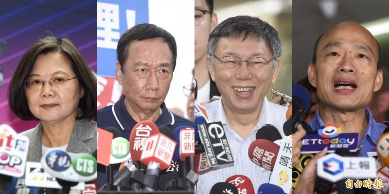 媒體報導,郭陣營公部截至8月27日民調,2020總統大選若是「四腳督」情形,蔡英文支持度30.8%、韓國瑜26.3%、郭台銘17.6%、柯文哲15.7%。(資料照合成圖)