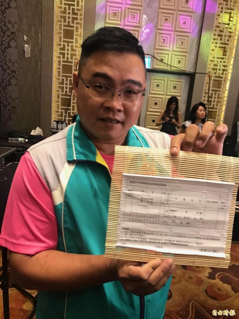 莊晉勳拿罷免連署書給韓國瑜,要他「罷免自己」。(記者洪臣宏攝)