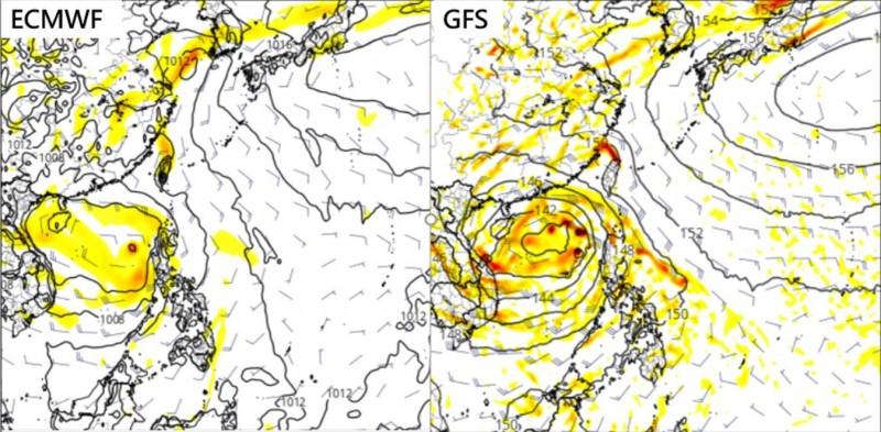 吳德榮指出,根據模擬顯示,南海有熱帶擾動發展、活動的跡象;兩模式模擬強度不同,位置差異也很大。(圖擷自洩天機教室)