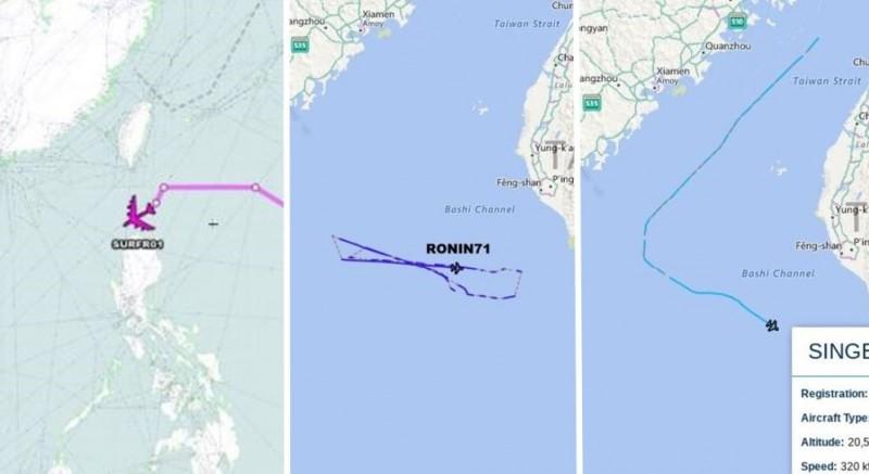 追蹤美軍動向的推特帳號發現,美軍今天一口氣有3架不同機型的軍機貼近台灣,分別是B-52轟炸機(左)、RC-135偵察機(中)、MC-130多功能飛機(右),最後往西南方的南海空域移動。(圖擷取自Aircraft Spots)