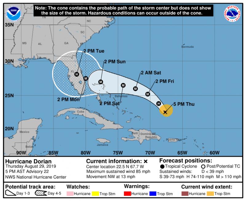 颶風中心預測「多利安」可能在登陸前增強為4級颶風,在今年美國勞動節(9/2)前後登陸佛州。(美國颶風中心)