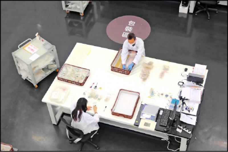 博物館的秘室透明化呈現考古遺物,從現場挖掘到進入博物館後的過程。(記者李惠洲/攝影)