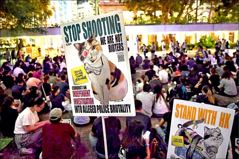 獸醫團體在集會上展示繪有戴著眼罩的貓兒圖像標語,訴求「停止射擊」、「我們不是暴徒」、「獨立調查警方暴行」。(法新社)