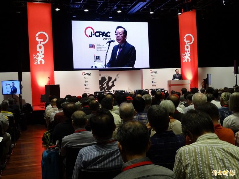 日本保守聯盟31日在東京舉辦為期兩天的「日本保守政治行動大會」,台美日保守勢力大會師,代表台灣保守派出席的福和會理事長顏慶章在會中發表專題演講。(記者林翠儀攝)