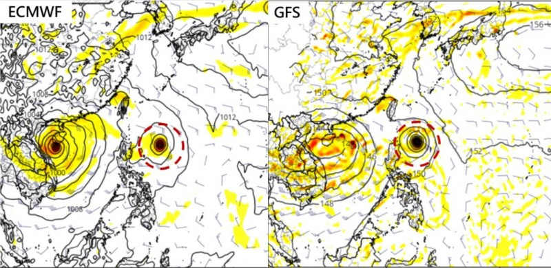 吳德榮指出,下週二(9月3日)在海南島附近持續模擬出有熱帶擾動存在,在呂宋島東方海面,也模擬出另有熱帶擾動發展,雖然不同模式模擬的強度不同,位置也有差異,但也顯示西北太平洋近期仍是適合颱風發展的天氣型態。(圖擷自tropical tidbits)