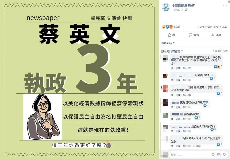 「中國國民黨 KMT」該則貼文全文以及網友回應。(圖擷取自臉書_中國國民黨 KMT)