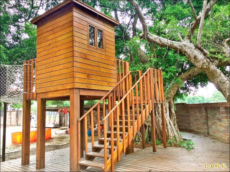 新北市鶯歌國中近期新建童軍營地,設置兩層樓高的樹屋等設施,未來也與周邊學校共享營地。(記者邱書昱攝)