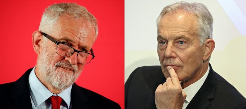 英國工黨黨主席柯賓(左)今日表示將傾力阻止無協議脫歐,並稱希望國會改選;但工黨籍前首相布萊爾(右)警告,千萬不要落入強森陷阱。(路透、美聯社)