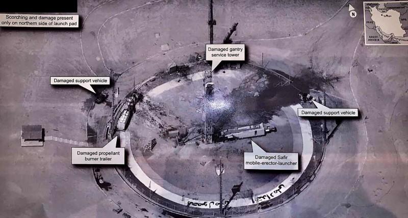 川普發布疑似伊朗火箭發射場的照片。(圖擷自川普推特)