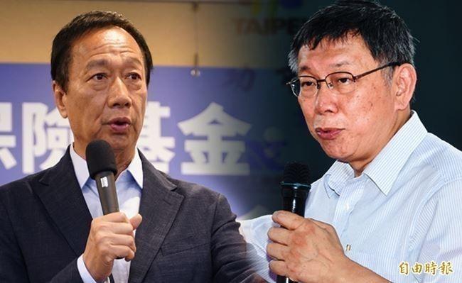 郭台銘(圖左)、柯文哲(圖右)聯盟無論是誰參選,在綠黨這份新民調中都正在下跌。(資料照,本報合成)