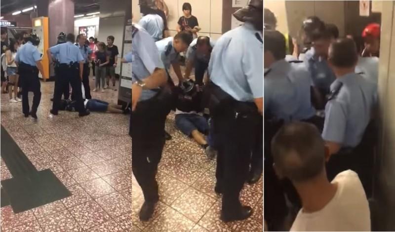 昨晚間在港鐵太子站傳出有港警在制伏示威民眾時,不顧有少年已頸椎受創不適倒地,還多次移動該名少年、不斷叫他「起來」,甚至強制將他拖行。(圖擷自「Black Head Down」YouTube)
