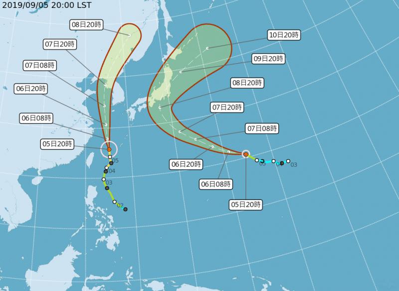 颱風「玲玲」(左)、颱風「法西」(右)路徑潛勢預測圖。(圖擷取自中央氣象局)