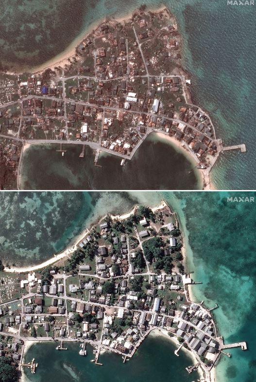 圖為巴哈馬的綠龜島(Green Turtle Cay)災難前後的比對圖。(歐新社)