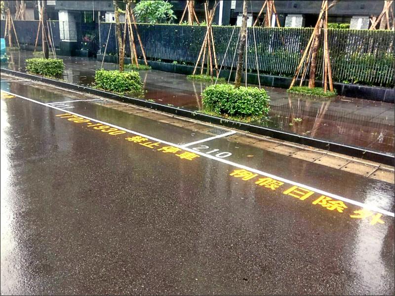 內湖堤頂大道二段實施平日下午尖峰時段禁停措施,盼能改善交通狀況。 (交通警察大隊提供)