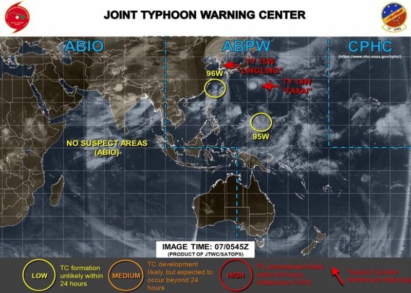 賈新興指出,西北太平洋上第13號颱風「玲玲」可能重創北韓和中國東北,至於熱帶擾動95W需密切觀察,未來3至4天季風即將增強,環境有利颱風生成。(圖擷自賈新興臉書)
