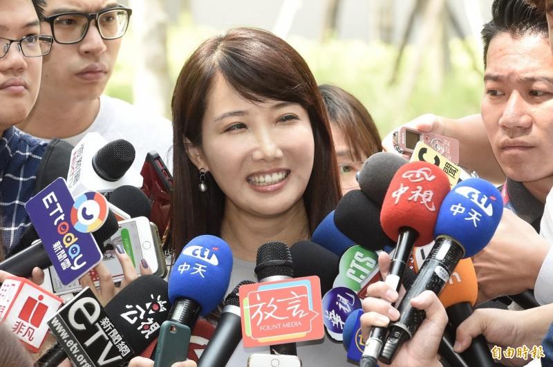 郭台銘辦公室發言人蔡沁瑜今接受媒體訪問。(記者叢昌瑾攝)