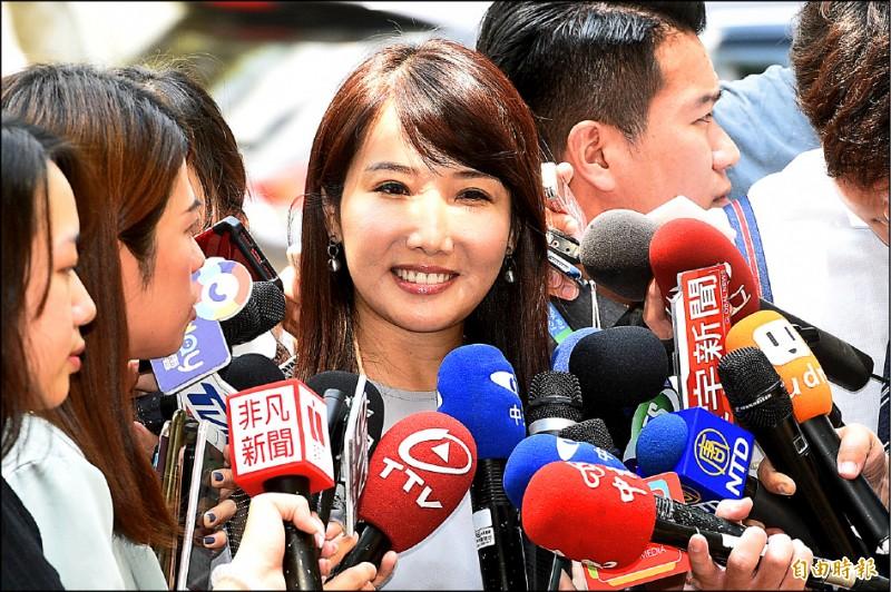 郭台銘辦公室發言人蔡沁瑜9日接受媒體訪問。(記者叢昌瑾攝)