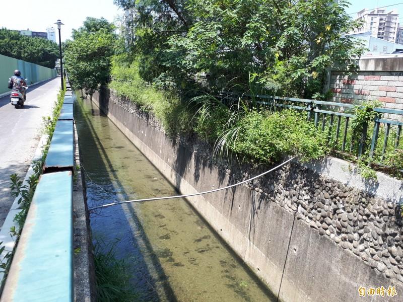 新竹市首座利用礫間曝氣自然工法進行水質淨化的東勢大排淨水工程今天竣工。(記者洪美秀攝)